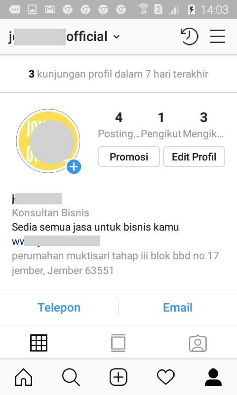 Menu Profile Untuk Iklan Instagram