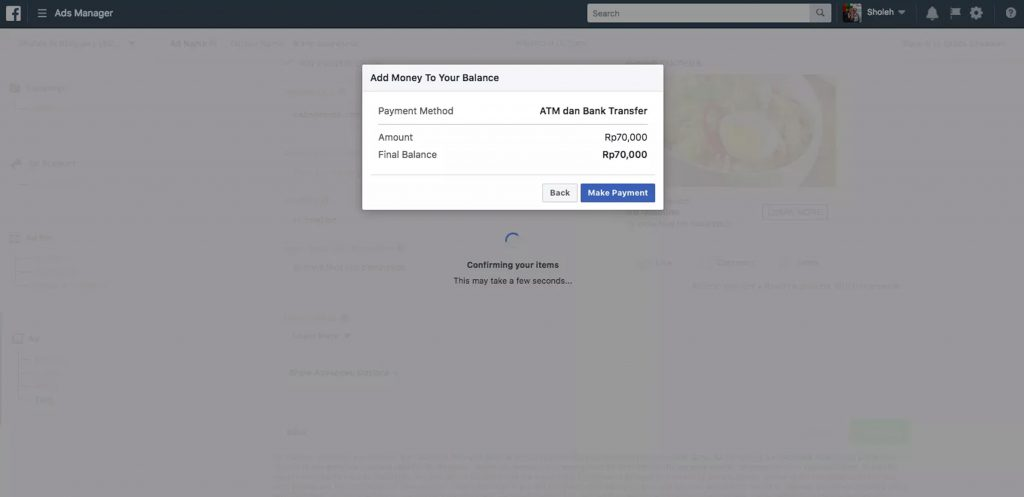 Review Payment Facebook