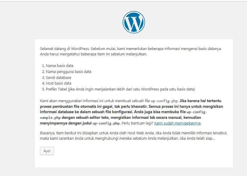masuk menu pengaturan wordpress