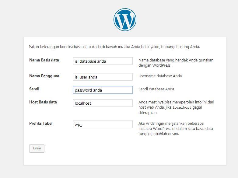 mengatur database dan user wordpress