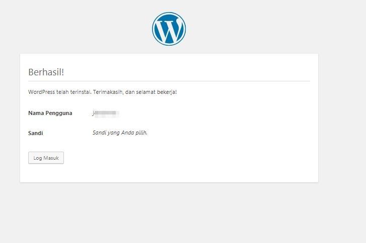proses instalasi wordpress selesai
