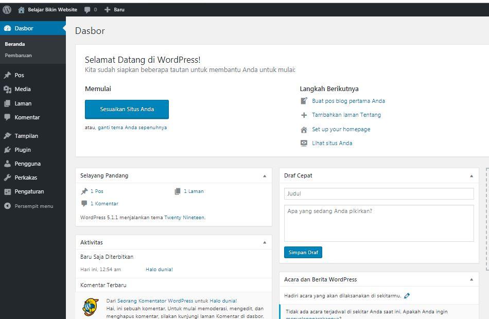dashboard admin wordpress