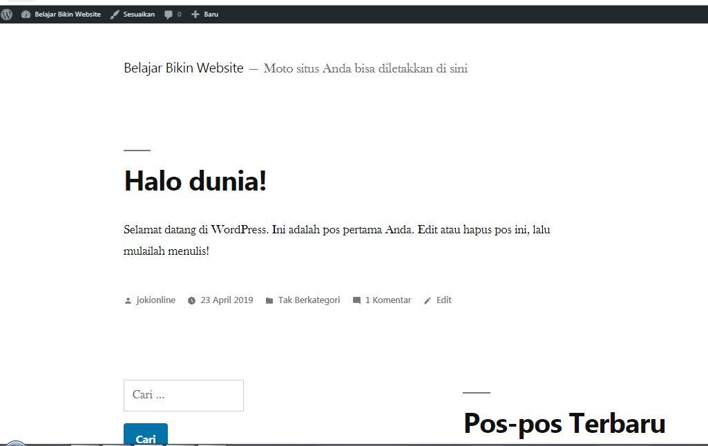 halaman situs wordpress