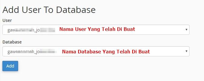 melakuakn seting user untuk database