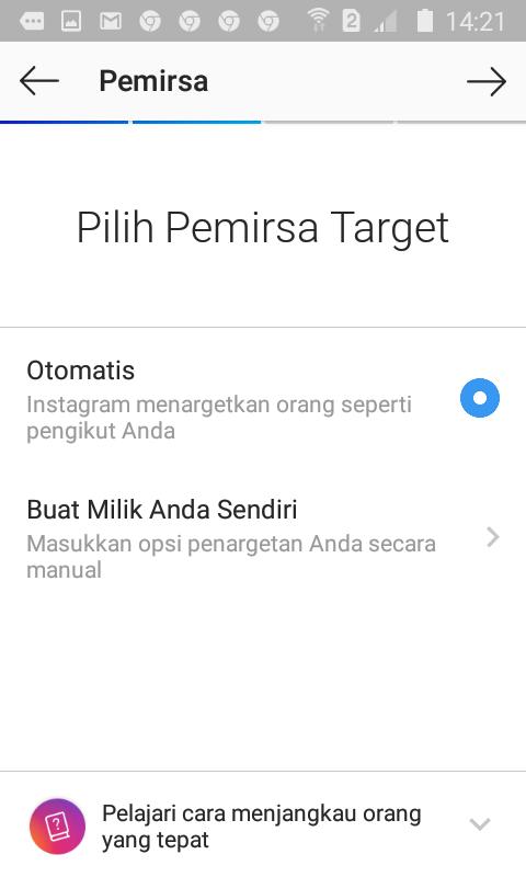 Pilih Pemirsa Target Iklan Instagram