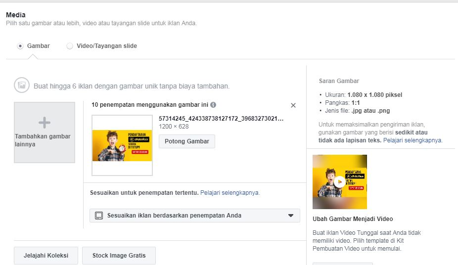 Tambah Media Gambar Facebook